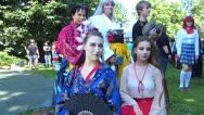 Manga fan dress up Japanese Kimono acted as Comic animation figurine Stock Footage