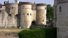 Entrance to Tower of London with castle walls Stock Footage
