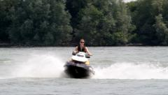 Jetski on Rhine Stock Footage