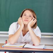 bored teacher - stock photo