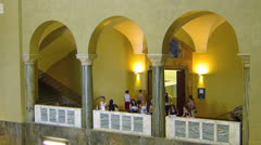 Students youth in Lichthof Munich LMU university entrance hall Germany Stock Footage