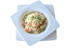 fried rice with shrimp on the white background - stock photo