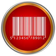 Bar code button Stock Illustration