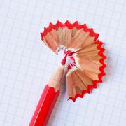 red coloured pencil - stock photo