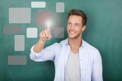 Executive pressing social buttons on virtual background Stock Photos