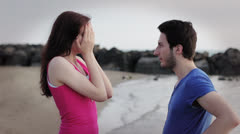 Promise of marriage - man gives a ring to a woman Stock Footage