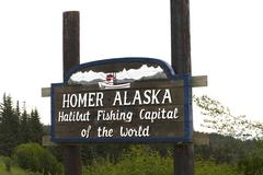 homer alaska halibut fishing capital of the world - stock photo