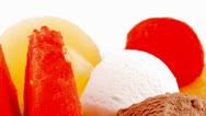 Stock Video Footage of plate of fruits and icecream