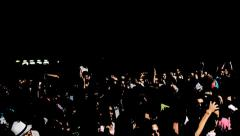 Crowd on concert with a robot in background Stock Footage