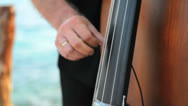 Stock Video Footage of contrabassist playing