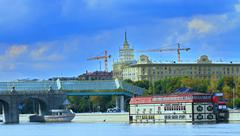 quay of the Moscow river - stock photo