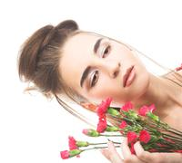 woman with pink's - stock photo