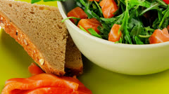 Salad with smoked salmon and fromage Stock Footage
