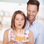blowing candle cake - stock photo