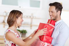 Stock Photo of couple with gift