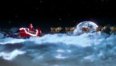 Christmas clip of Santa Claus and sleigh side view with moon zoom Stock Footage