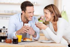 Morning coffee and breakfast Stock Photos
