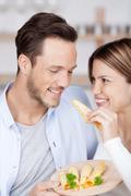 tasting cheese - stock photo
