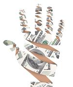 Hand made of dollar bank notes. - stock photo