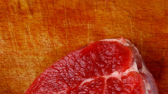 Raw red meat : fresh beef single fillet chop Stock Footage