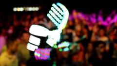 ROBOT in the  concert crowd Stock Footage