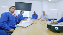 New recruits or on the job training for blue collar workers - stock footage