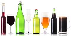 Alcohol drinks set isolated Stock Photos