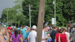 Crowd Waiting For Parade - stock footage