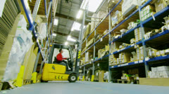 Time lapse of male workers in warehouse preparing goods for dispatch Stock Footage