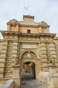 Main gate city access to mdina in malta 2013 Stock Photos