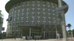 Vehicle shot Headquarters of the OPCW, The Hague Stock Footage