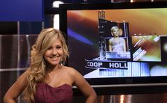Ani esmailian.on the set with 'hollyscoop'.held at the hollyscoop studio.burb Stock Photos
