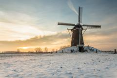 Dutch windmill in wintertime Stock Photos