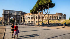 Rome. Time Lapse in motion around the Colosseum. Stock Footage