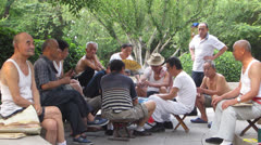 Daily Life in China - Old men in the park Stock Footage