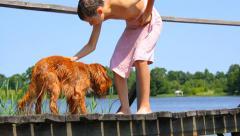 Boy with English Cocker Spaniel on footbridge in summer near lake Stock Footage