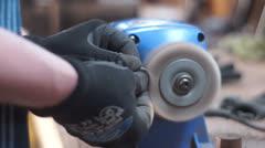 Wood Polish with machine Stock Footage