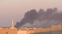 LIBYA - bombing smoke on Tripoli - stock footage