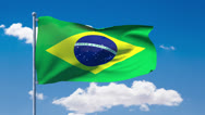 Stock Video Footage of Brazilian flag waving over a blue cloudy sky