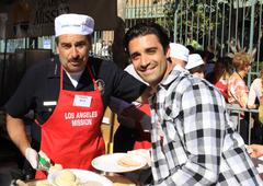 Los angeles police chief charles beck and gilles marini.kirk douglas and anne Stock Photos