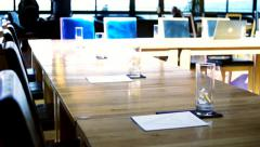 Corporate presentation table Stock Footage