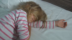 Sleeping Little Girl, Tired Child Taking a Nap, Bedtime, Dreaming Children Stock Footage