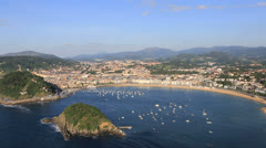 Scenic view of San Sebastian in Spain Stock Footage