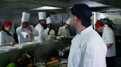 Portrait of a young trainee chef or worker in a commercial kitchen - stock footage