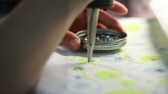 View of sticking sequins on fabric Stock Footage