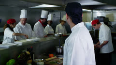 Portrait of a young trainee chef or worker in a commercial kitchen Stock Footage