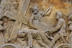 calvary - stations of the cross - jesus falls the second time - stock photo