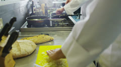 Food being prepared in a hotel or restaurant kitchen Stock Footage