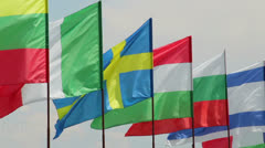 International summit European flags on wind day time Stock Footage