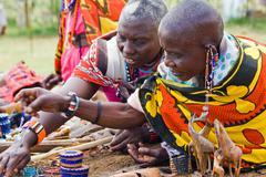 Elderly masai women Stock Photos